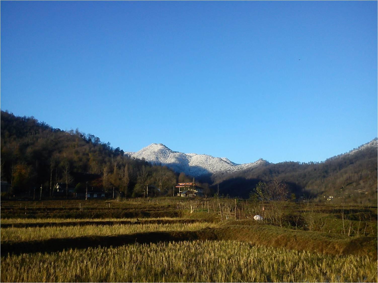 عکس برف پاییزی در روستای شولم