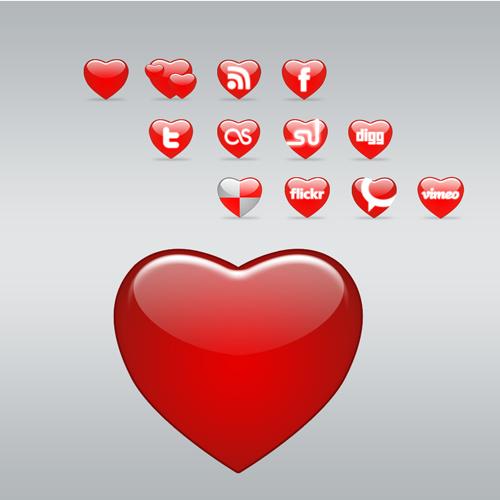 آیکون های اشتراک گذاری طرح قلب
