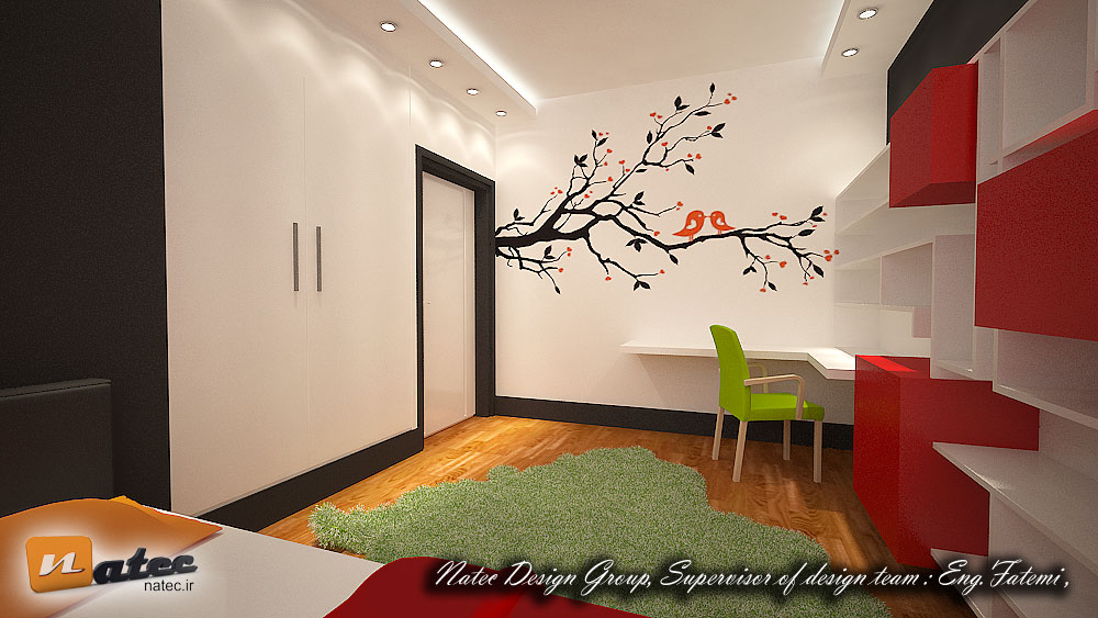 نمونه کار طراحی اتاق خواب و کار نوجوان از گروه طراحی ناتک (2)