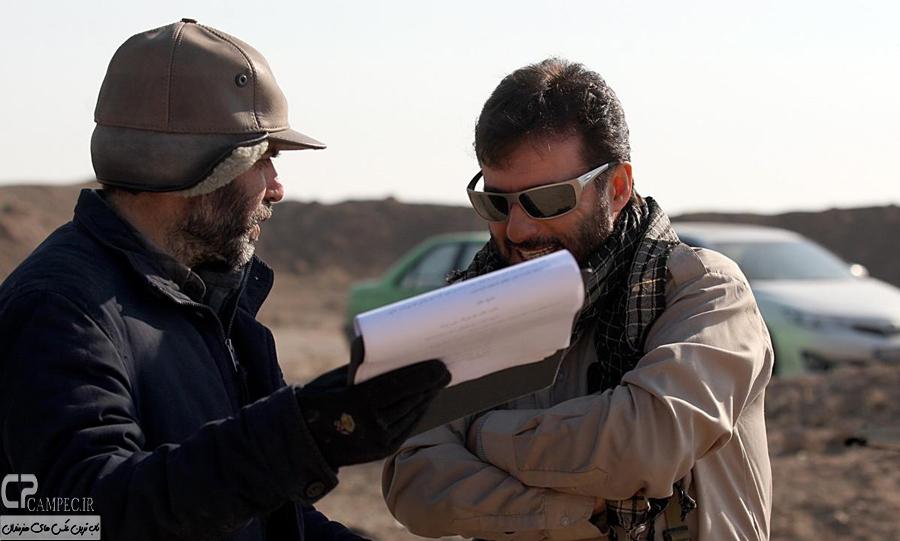 سید جواد هاشمی و مسعود ده نمکی در پشت صحنه سریال معراجی ها