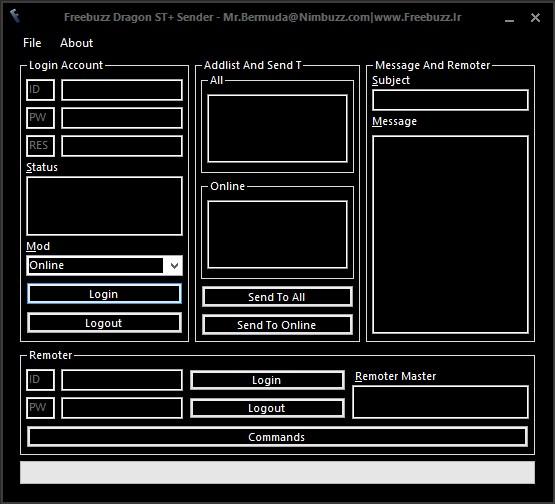 FreeBuzz Dragon ST+ Sender Full Remote(Like Server BOT) Versian 1.0.0.0 SC_ST