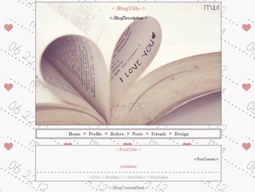 قالب دفتر خاطرات عاشقانه برای بلاگفا