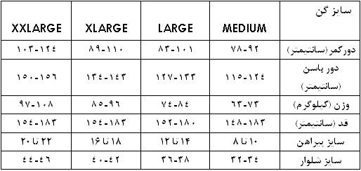 جدول سایز بندی گن لاغری زنانه کاسمرا