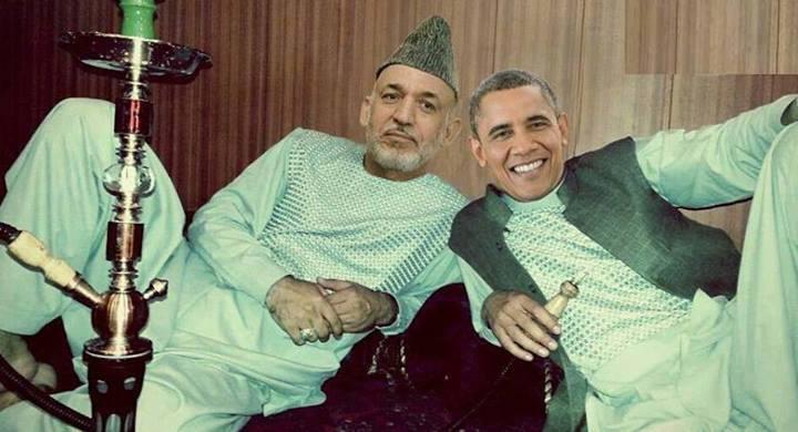 عکس خنده دار اوباما و کرزی