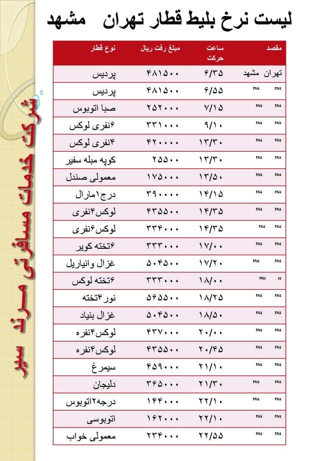 قیمت فروش بلیط قطار تهران مشهد