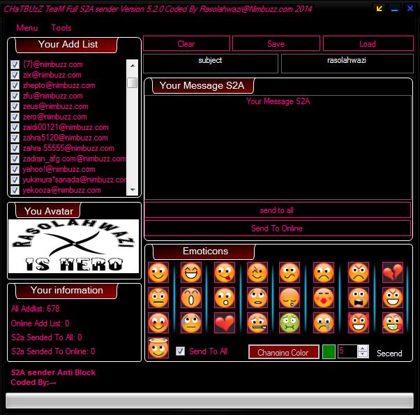 CHaTBUzZ TeaM Full S2A sender Version 5.2.0 Coded By Rasolahwazi@Nimbuzz.com 2014 747646545