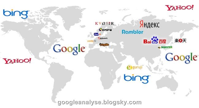 ادبیات موتور های جست و جو ! نقشه موتور های جست و جوی در جهان