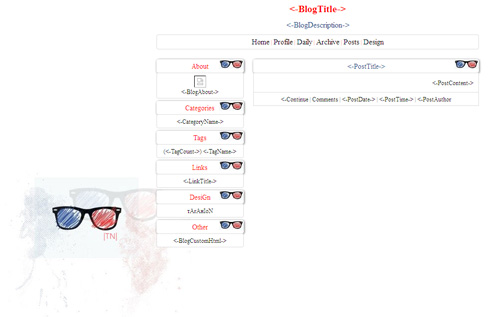 قالب عینک برای بلاگفا