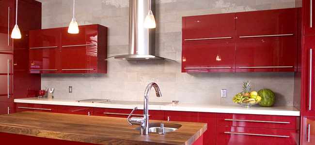 کابینت آشپزخانه های گلاس قرمز pvc