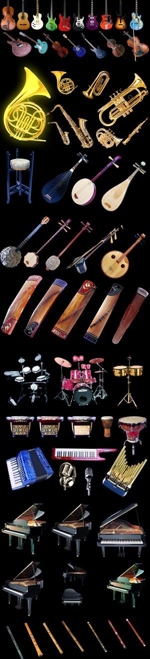 لایه بازهای تمام لوازم آلات موسیقی