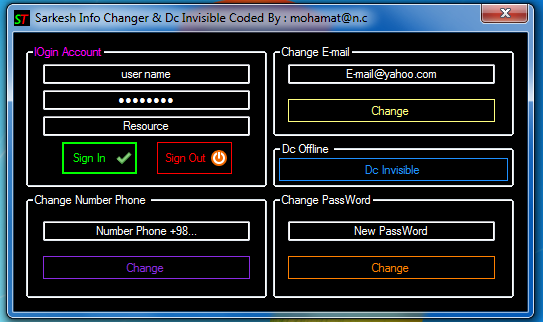 Sarkesh Info Changer & DC invisible Screen_of_soft