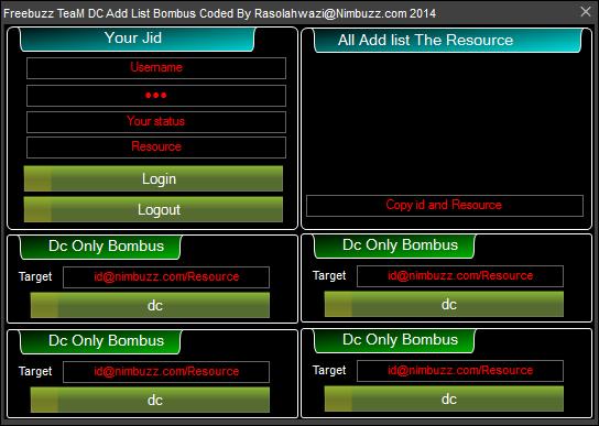 Freebuzz TeaM DC Add List Bombus Update Nimbuzz Coded By Rasolahwazi 8978798