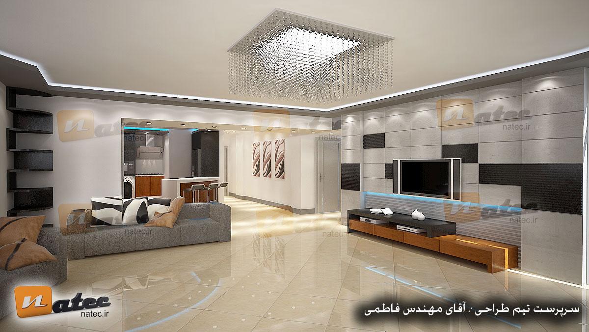 نمونه کار طراحی منزل مسکونی مدرن و مینیمال از گروه طراحی ناتک اصفهان
