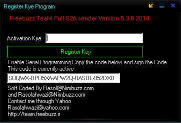 Freebuzz TeaM Full S2A sender New Version 5.3.0 Coded By Rasolahwazi@Nimbuzz.com  6545_6565