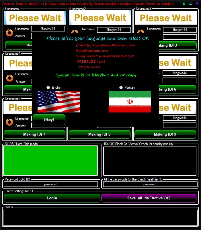 Freebuzz TeaM ID MaKeR V1.0.0 New Updates Beta 5 Coded By Rasolahwazi@N.c rasol@n.c 4546465