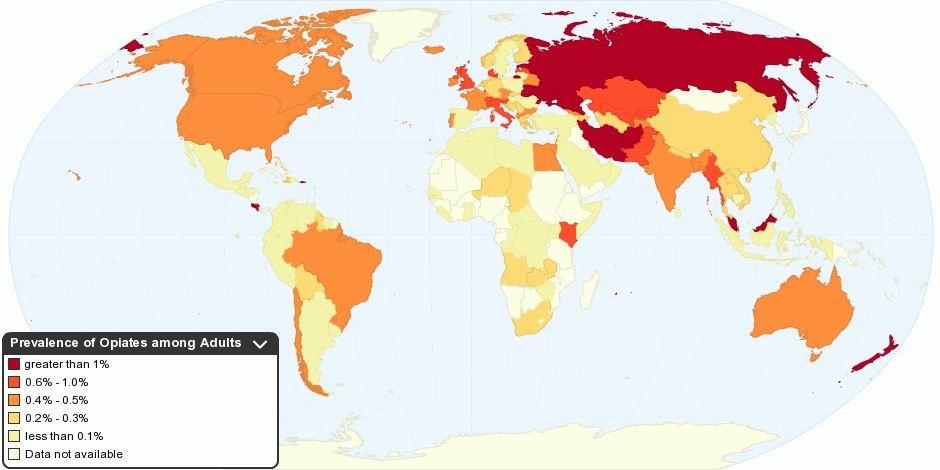 پراکندگی مصرف تریاک در جهان