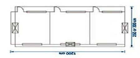 پلان کانکس 12 متری 3 اتاقه
