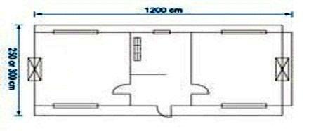 کانکس 12 متری 2 اتاقه با آبدارخانه