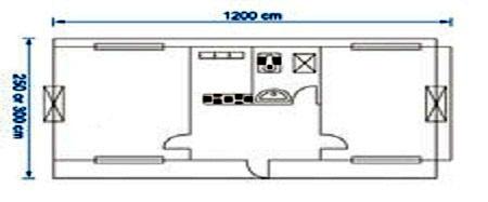 کانکس 12 متری 2 اتاقه با سرویس بهداشتی و آبدارخانه