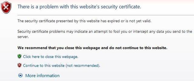 رفع خطای certificate در اینترنت اکسپلورر,رفع خطای certificate در اینترنت,رفع خطای ssl