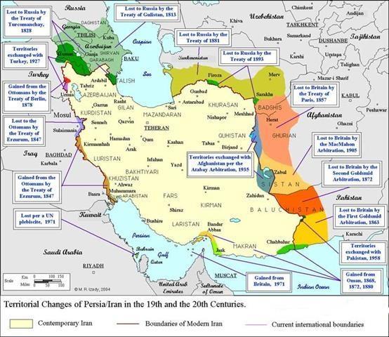 تغییرات مرزهای ایران و همسایه غربی در دویست سال اخیر