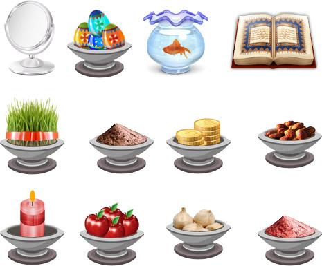 مجموعه آیکون های هفت سین برای عید نوروز