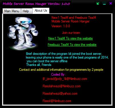 Freebuzz TeaM and New1 TeaM Mobile Server Room Hanger Coded By $!_javad(l)jody_!$@Nimbuzz.com And Rasolahwazi@Nimbuzz.com 56465456