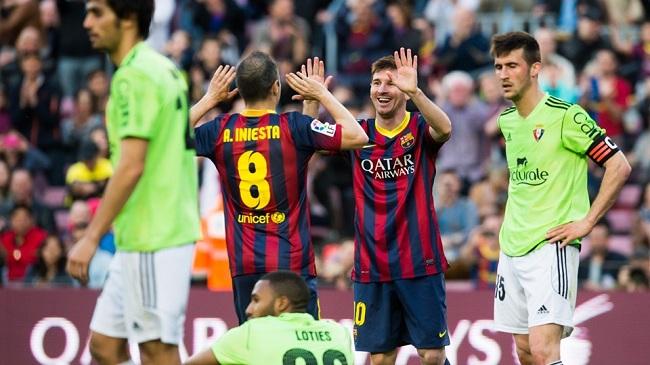 بارسلونا ۷-۰ اوساسونا؛ هتریک لیونل مسی در آستانه ال کلاسیکو
