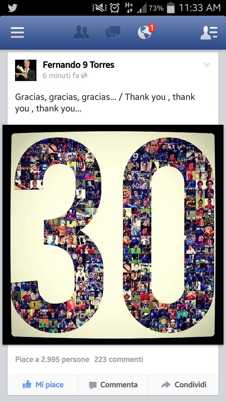 تشکر تورس از هوادارانش در صفحه ی اینستاگرامش