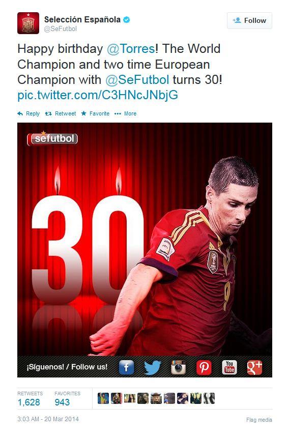 تبریک تولد 30 سالگی فرناندو تورس توسط توییتر رسمی تیم ملی اسپانیا