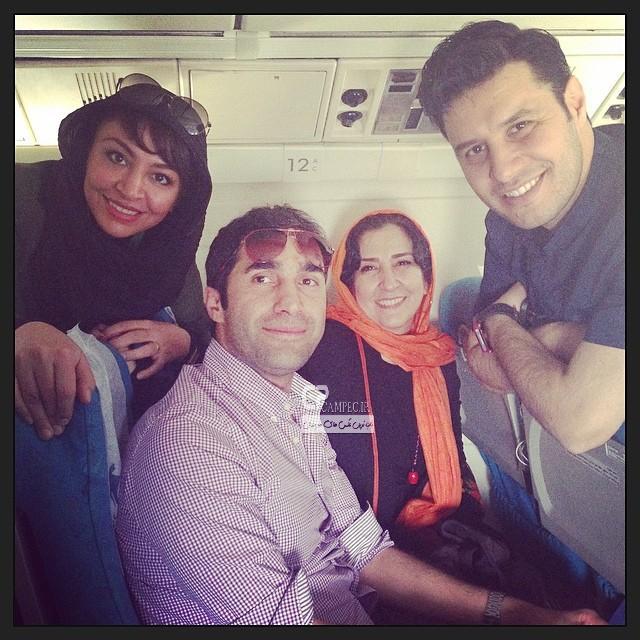 مرجانه گلچین به همراه جواد عزتی و همسرش مه لقا باقری و هادی کاظمی