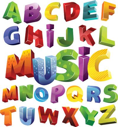 وکتور حروف الفبا سه بعدی