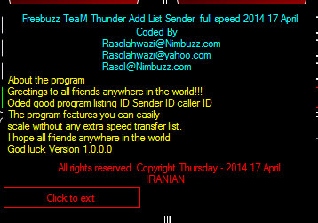 Freebuzz TeaM Thunder Add List Sender  full speed  rasolahwazi 011111155