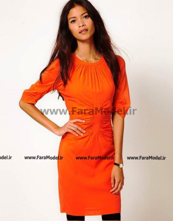 مدل لباس ساده رنگی دخترانه آستین نیمه