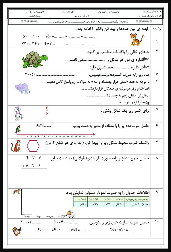 نمونه سوالات علوم ششم با جواب پیش دبستانی تا ششم ابتدایی