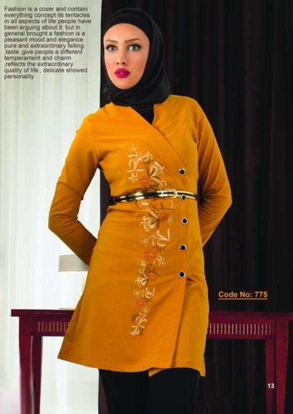 مدل مانتو مجلسی بلند رنگ سفید و نارنجی زنانه دخترانه