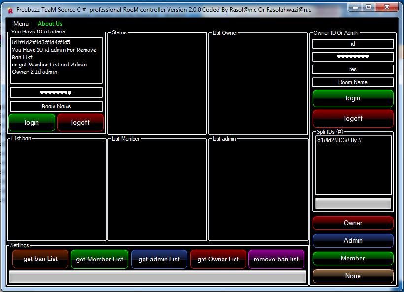 Freebuzz TeaM Source C # professional RooM controller Version 2.0.0 Coded By Rasol@n.c Or Rasolahwazi@n.c 0212121