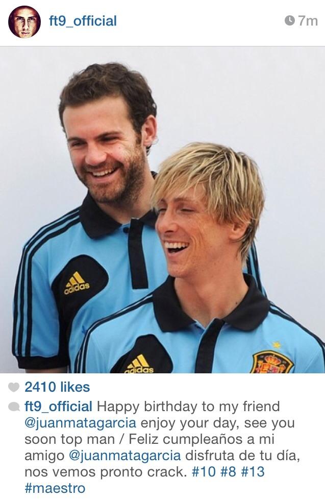 تبریک تولد خوان ماتا توسط فرناندو تورس در اینستاگرامش