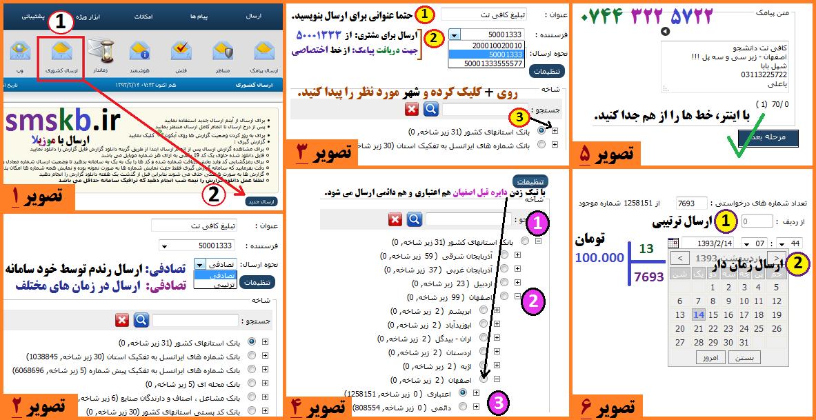 آموزش روش ارسال کشوری پیامک در سامانه smskb.ir