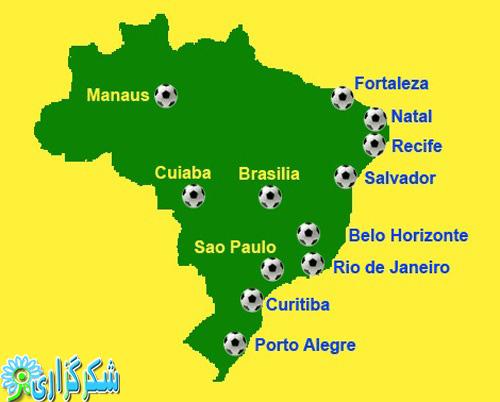 جام جهانی_شهرهای برگزار کننده_نقشه