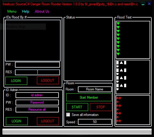 freebuzz Source C# Danger Room Flooder Version 1.0.0 by $!_javad(l)jody_!$@n.c and rasol@n.c 54564165456