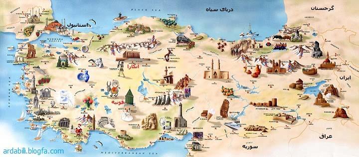 نقشه توریستی ترکیه
