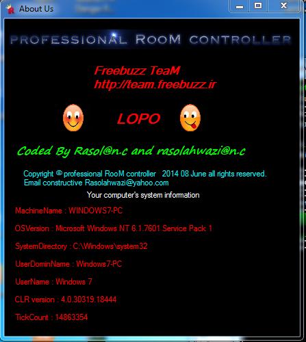 Freebuzz TeaM Source C # professional RooM controller Version 2.0.0 Coded By Rasol@n.c Or Rasolahwazi@n.c 1513510000