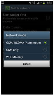 گزینه ی GSM/WCDMA Auto mode