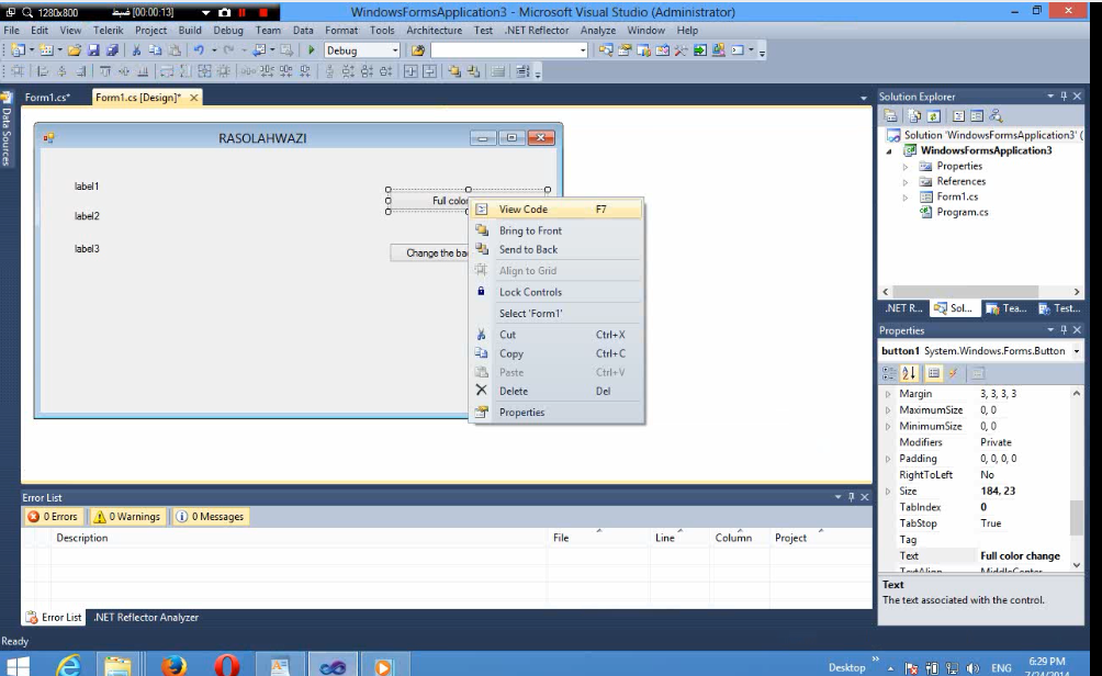 Video Learning to change color in C # form By Rasolahwazi@yahoo.com 2313213213213213