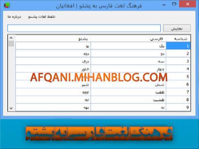 نرم افزار فرهنگ لغت فارسی به پشتو