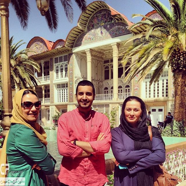 پریوش نظریه،مهرداد صدیقیان و شبنم مقدمی در باغ ارم شیراز