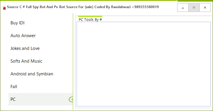 Source C # Full Spy Bot And Pv Bot Source For {sale} Coded By Rasolahwazi Mast11