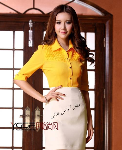 بلوز دامن دخترانه مجلسی کره ای بلوز زرد لانه زنبوری است با یقه مردانه