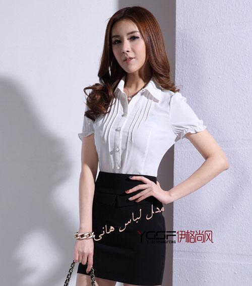 بلوز دامن دخترانه مجلسی کره ای بلوز سفید است با یقه مردانه